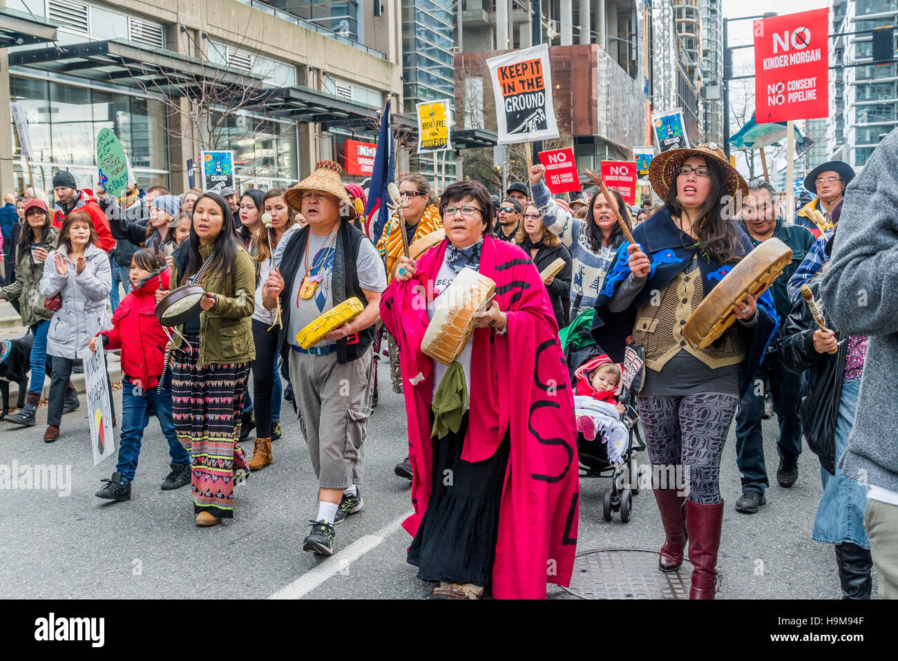 Anti Kinder Morgan Pipeline Protest Rally and March, Vancouver, British Columbia, Canada. - Stock Image