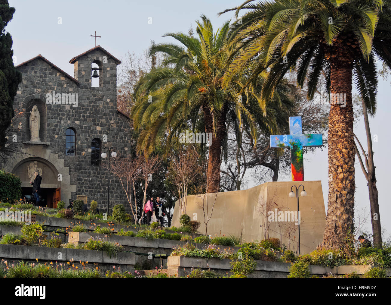 Chile, Santiago, San Cristobal Hill, View of the  Sanctuary of the Immaculate Conception. - Stock Image