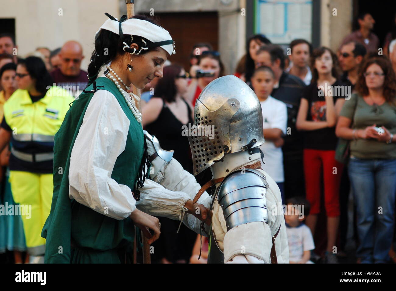 Lady and Knight during medieval re-enactment in Bracciano, Italy Stock Photo