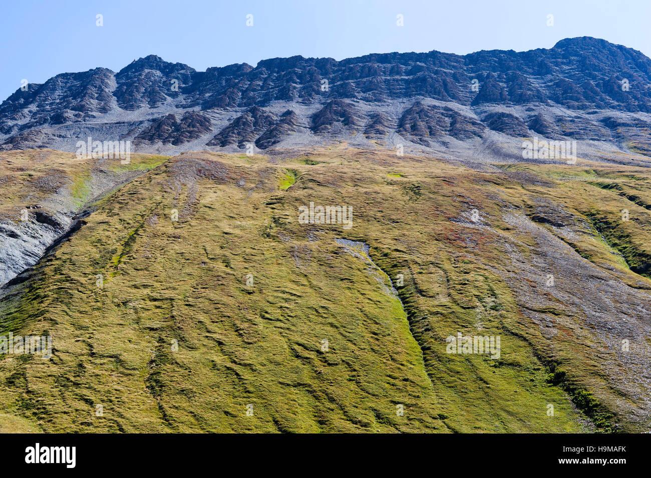 Val Veny Valle d'Aosta Italy mountain green rock sky blue nature wall - Stock Image