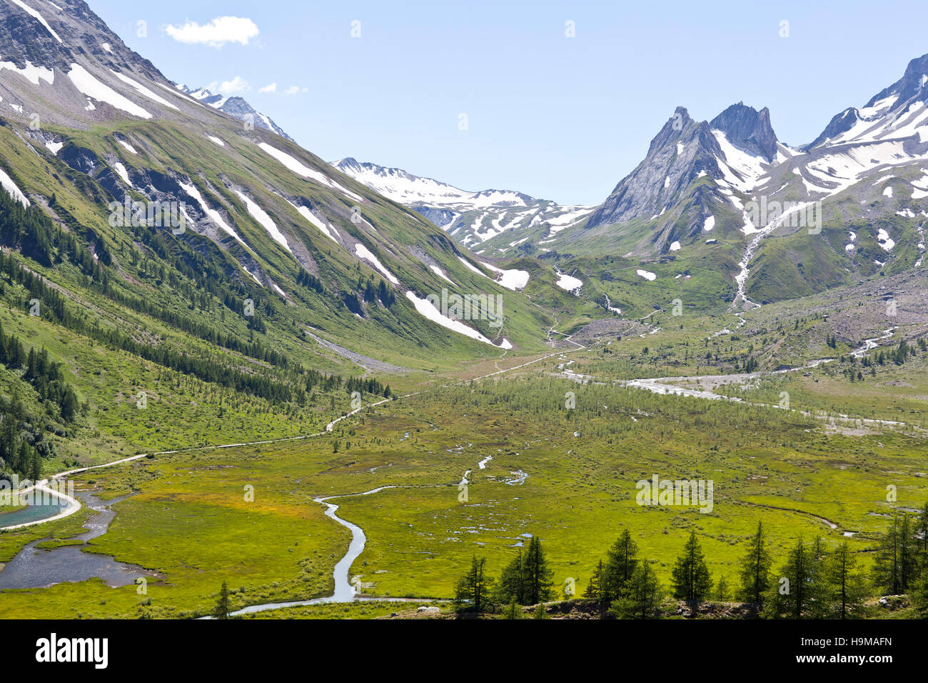 Val Veny Valle d'Aosta Italy meadows creeks snow mountains trees river summer travel - Stock Image