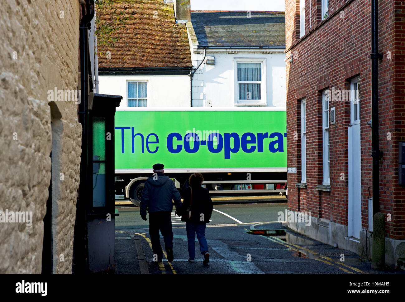 Co-op delivery lorry, parked on street, England UK - Stock Image