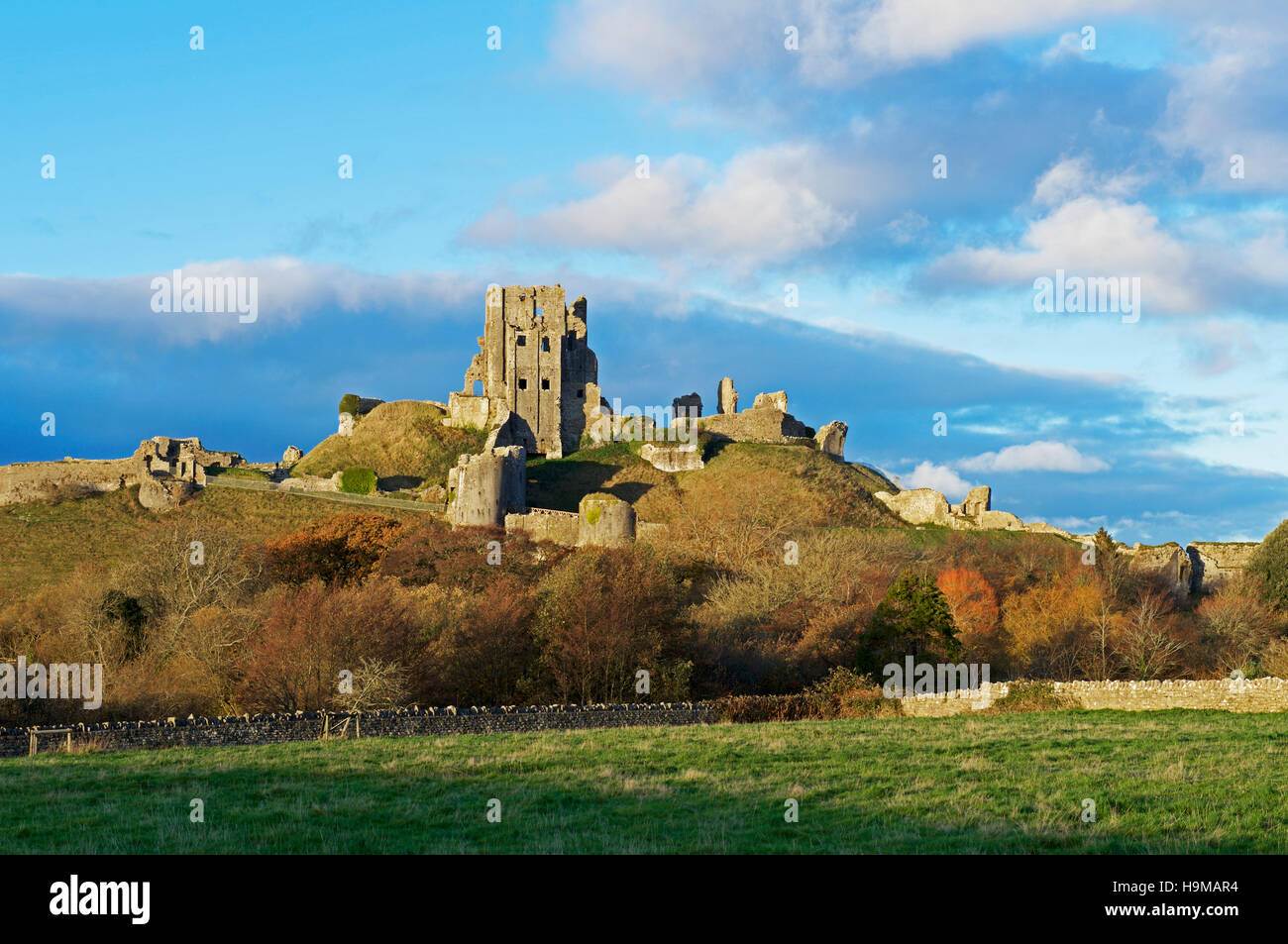 Corfe Castle, Isle of Purbeck, Dorset, England UK - Stock Image