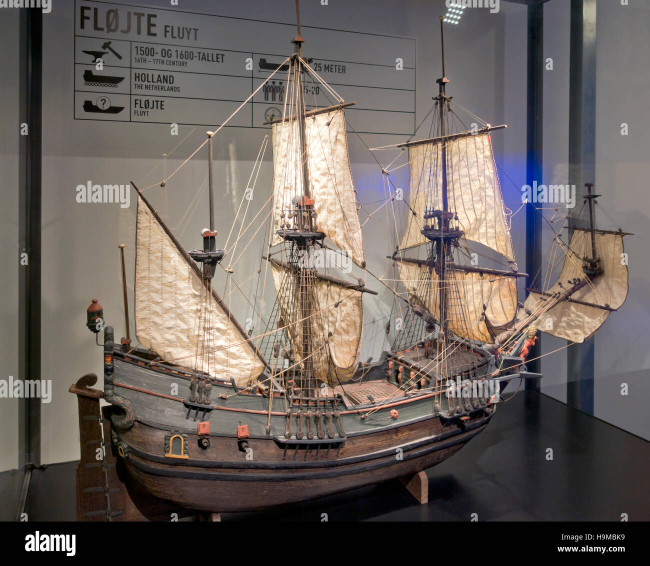 Model of Dutch fluyt 16th century sailing ship designed for cheap, efficient transoceanic delivery. Maritime Museum - Stock Image