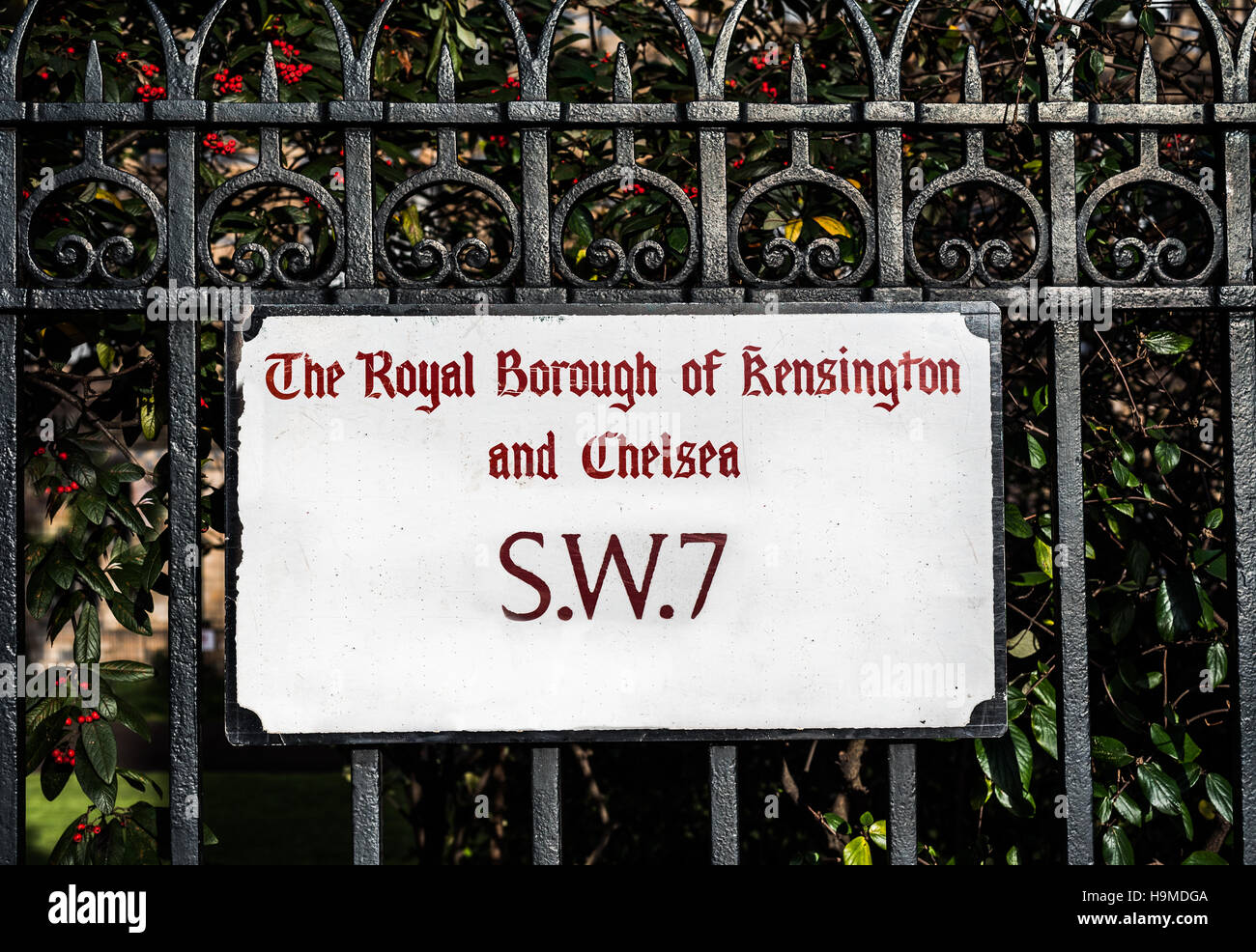 A street Royal Borough Of Kensington And Chelsea sign in London. - Stock Image