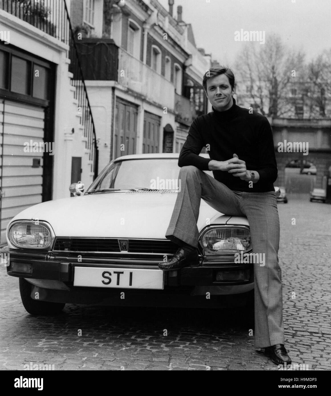Jaguar XJS with Ian Ogilvy as The Saint tv show character 1977 - Stock Image