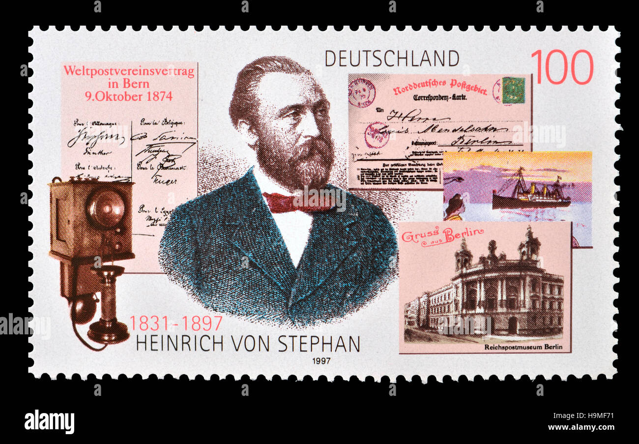 German postage stamp (1997) : Heinrich von Stephan (1831-1897) General post director for the German Empire who reorganized Stock Photo
