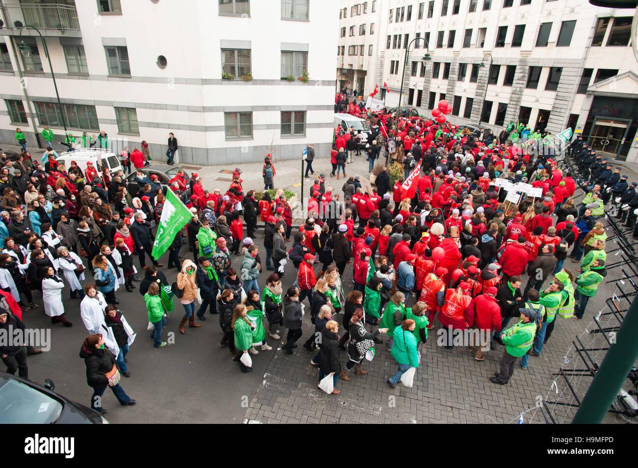 Brussels, Belgium  24th Nov, 2016  Demonstrators shouting