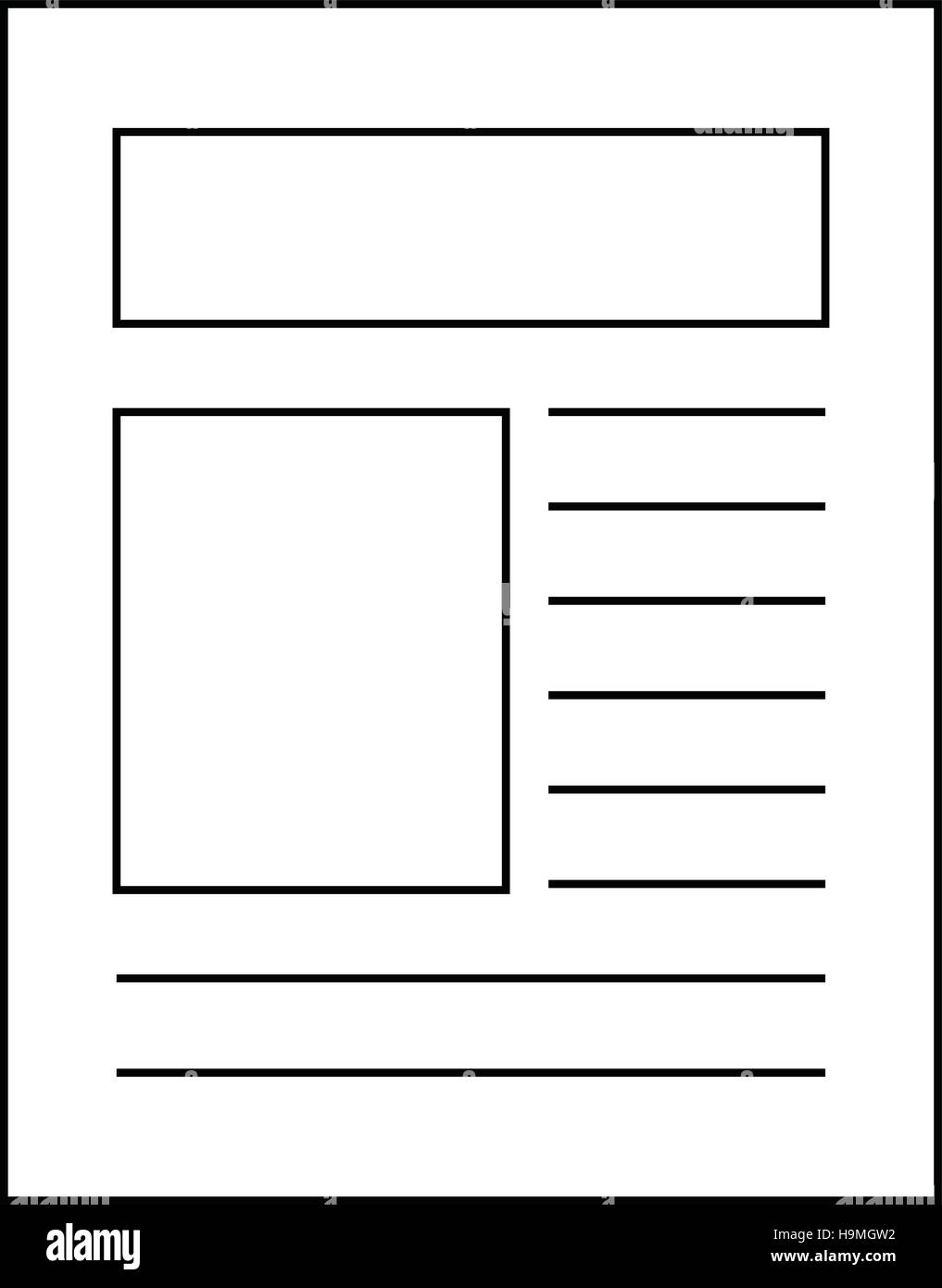 Outline Icon Of Newspaper Article