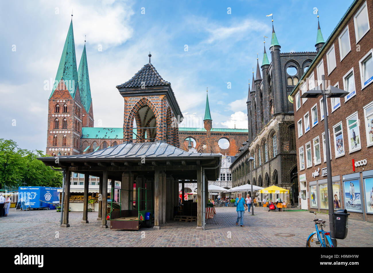 Market square in Lubeck. Schleswig-Holstein, Germany - Stock Image