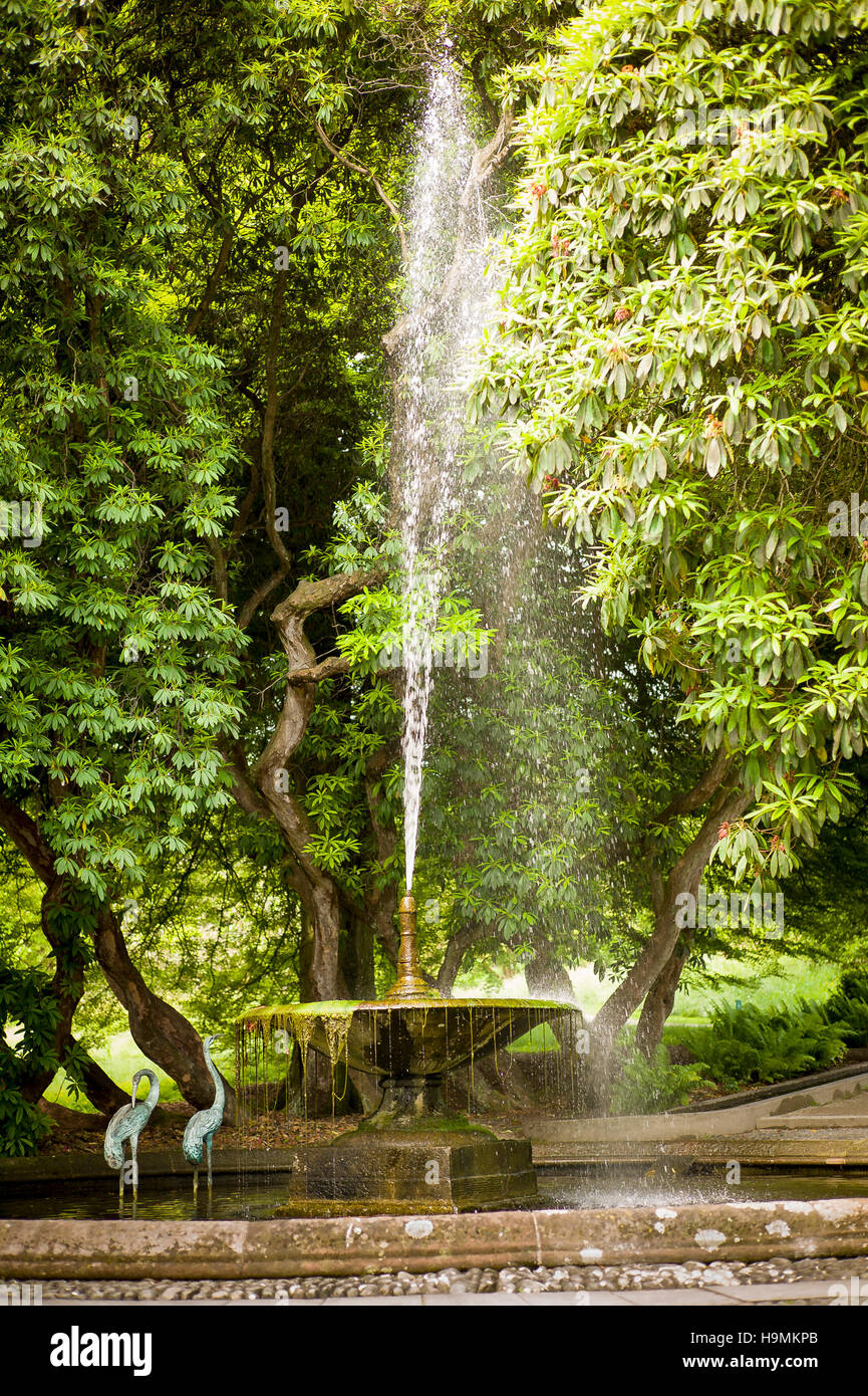 Ornamental fountain in Holker Hall gardens in Cumbria UK - Stock Image