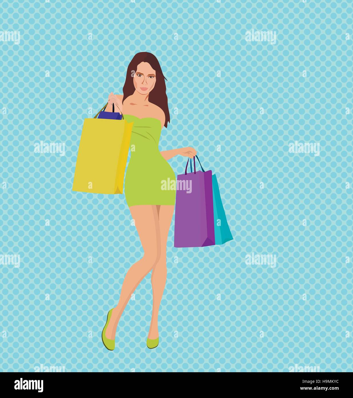 Shopping girl with bags, black friday sale Stock Vector