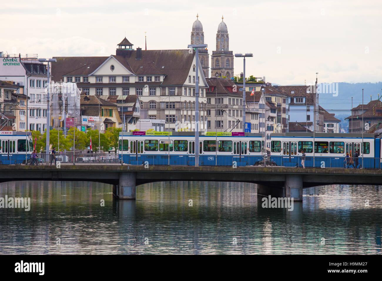 Zurich Public Transport (VBZ) over the Limmat River, Zurich, Switzerland - Stock Image
