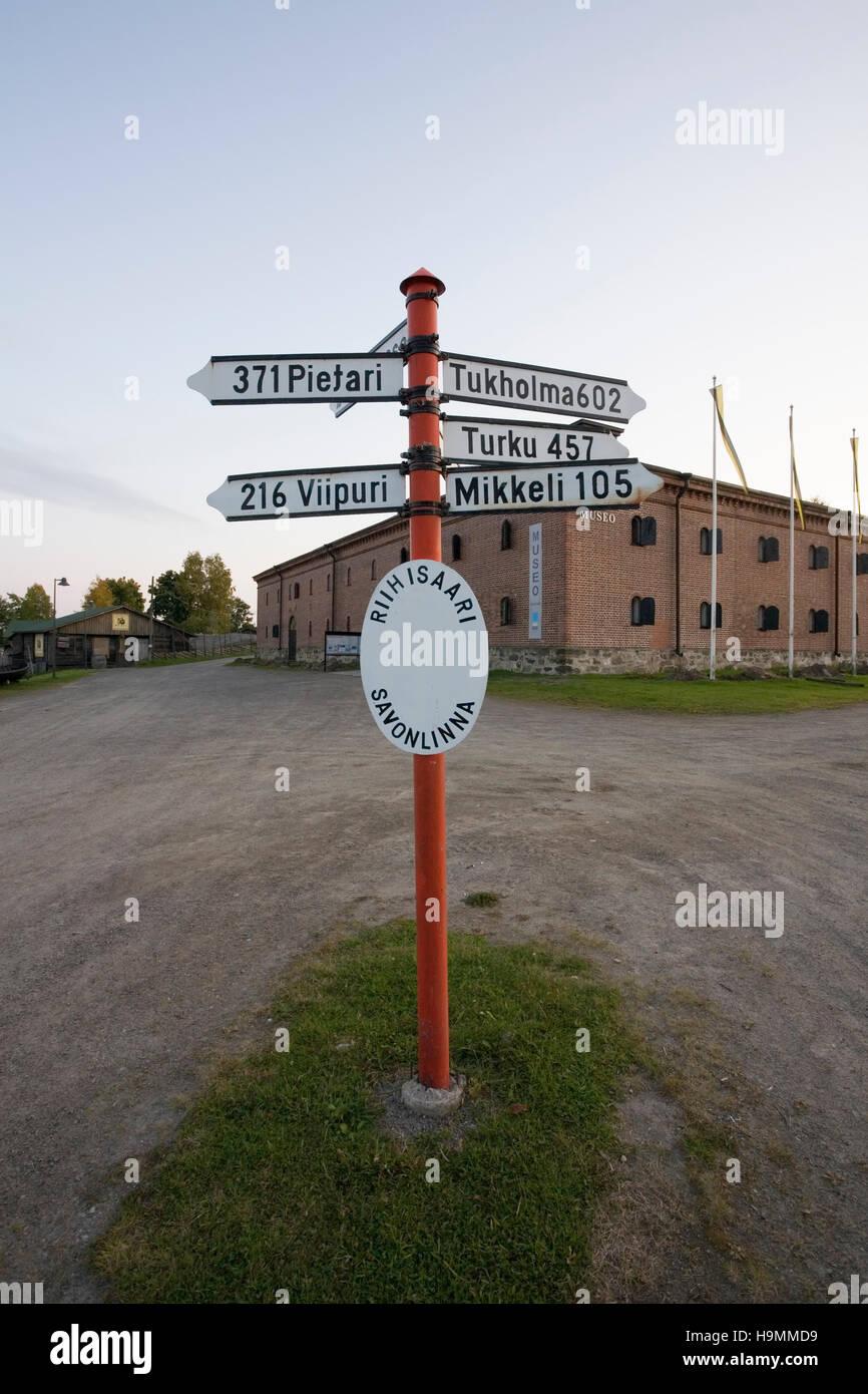 Distances sign pole, Savonlinna Finland - Stock Image