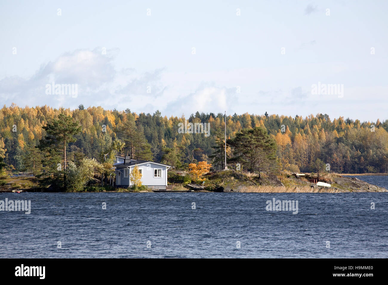 Summer house at lake Saimaa, Taipalsaari Finland Stock Photo