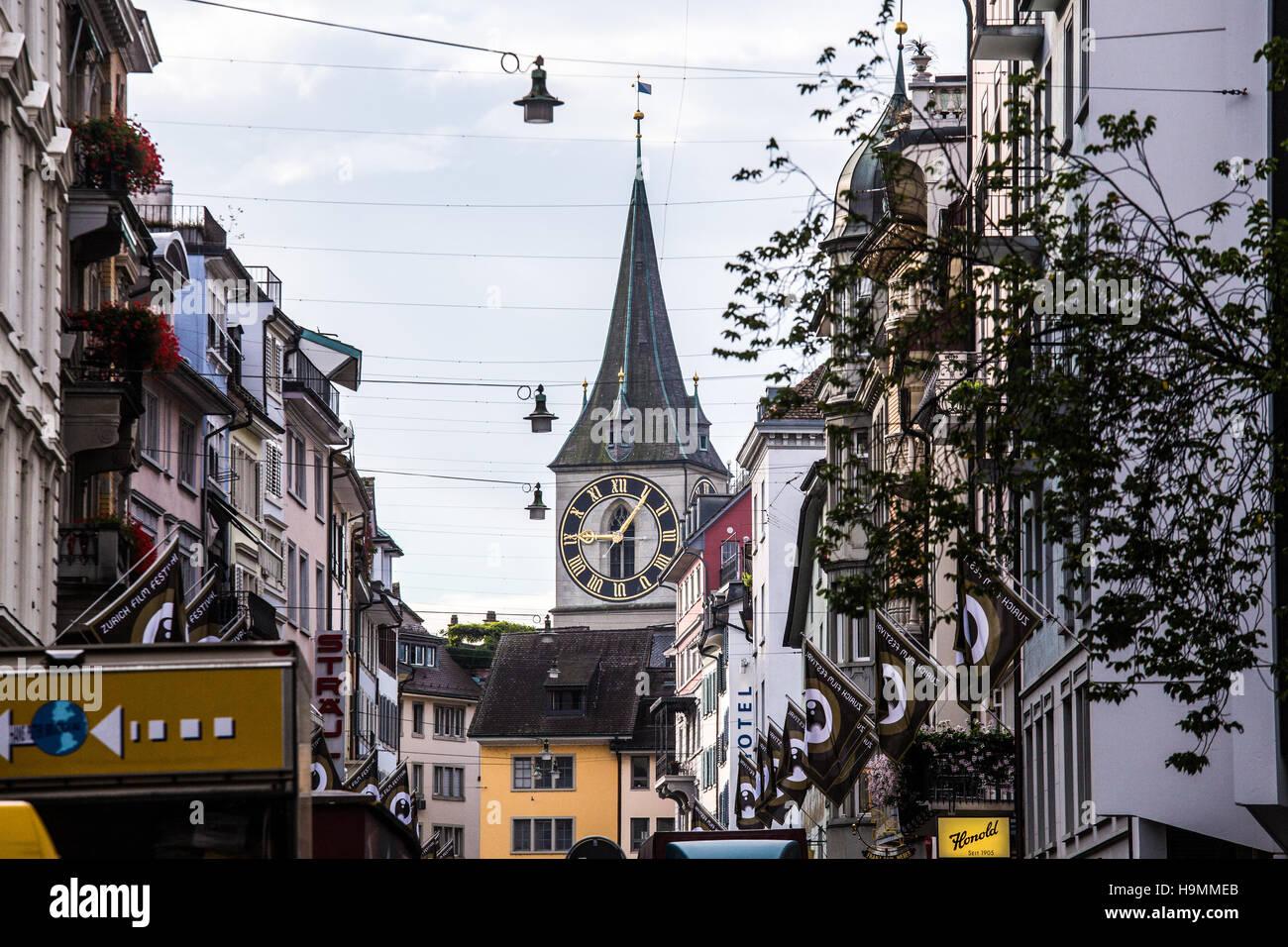 St Peter Church Clocktower in Zurich, Switzerland Stock Photo
