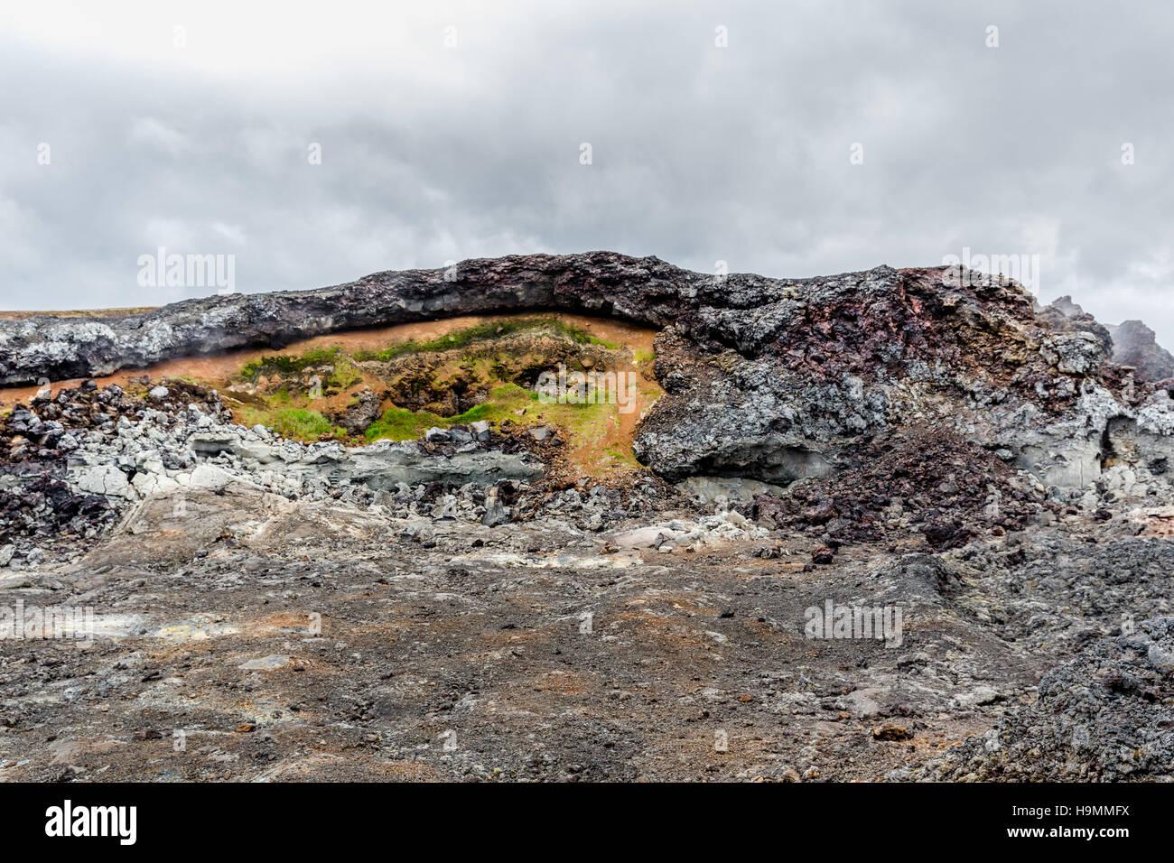lava fields, Krafla volcano, Iceland, volcanic area, Northeast Iceland, craters, - Stock Image