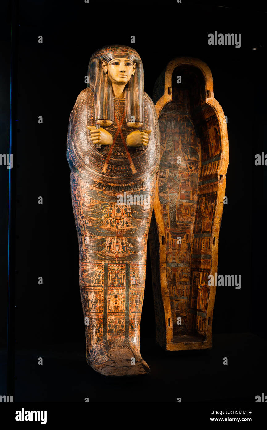 Egyptian mummy tomb in the  Museum of Antiquities, Mougins, France - Stock Image