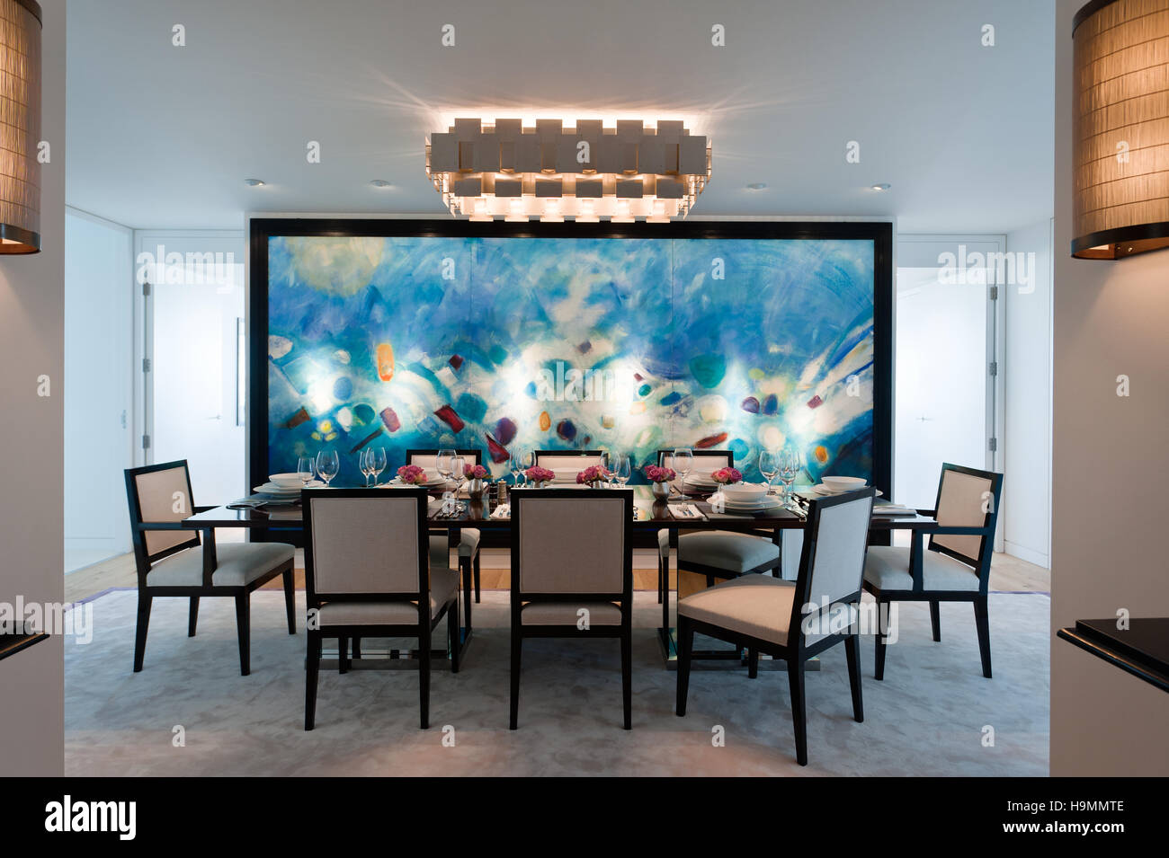 Dining Table With Large Modern Art Canvas In Flat By Collett Zarzycki Property Development Richard Rogers Bankside Central London UK