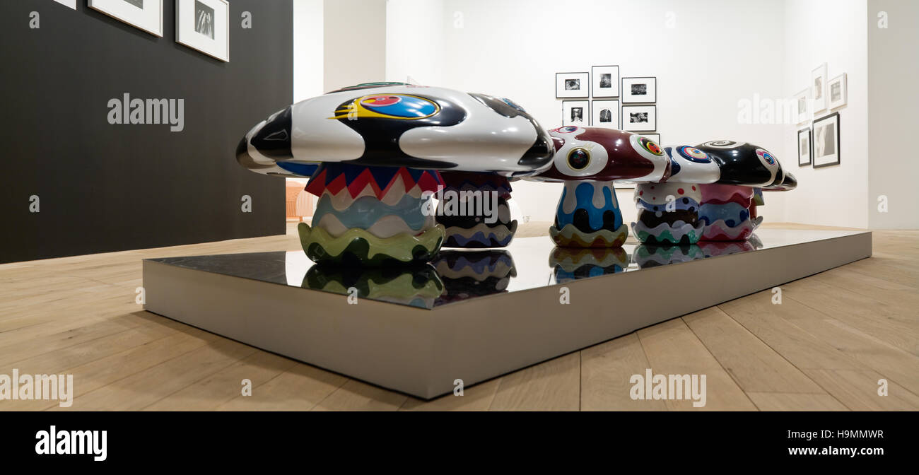 Large psyechedelic toadstools, auction of Japanese design at Phillips de Pury gallery, Westminster, London, UK. Stock Photo