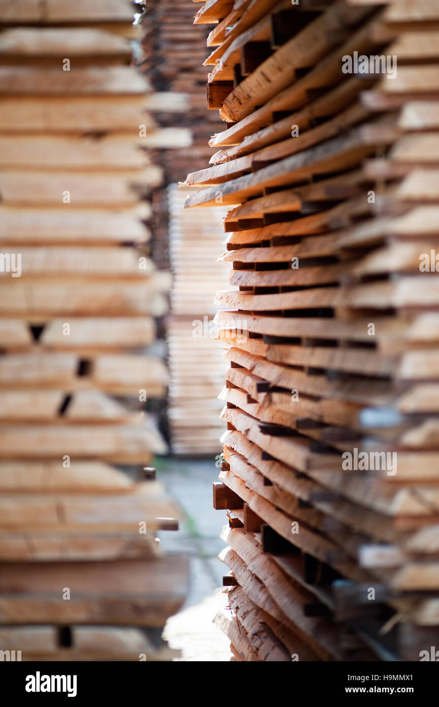 Stacks of wooden planks in sawmill timber processing plant, Templin, Uckermark district of Brandenurg, Germany. - Stock Image