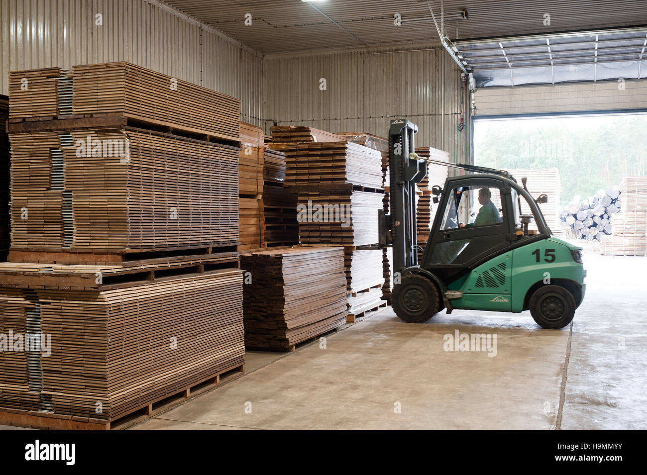 timber processing plant, Templin, Uckermark district of Brandenurg, Germany. - Stock Image