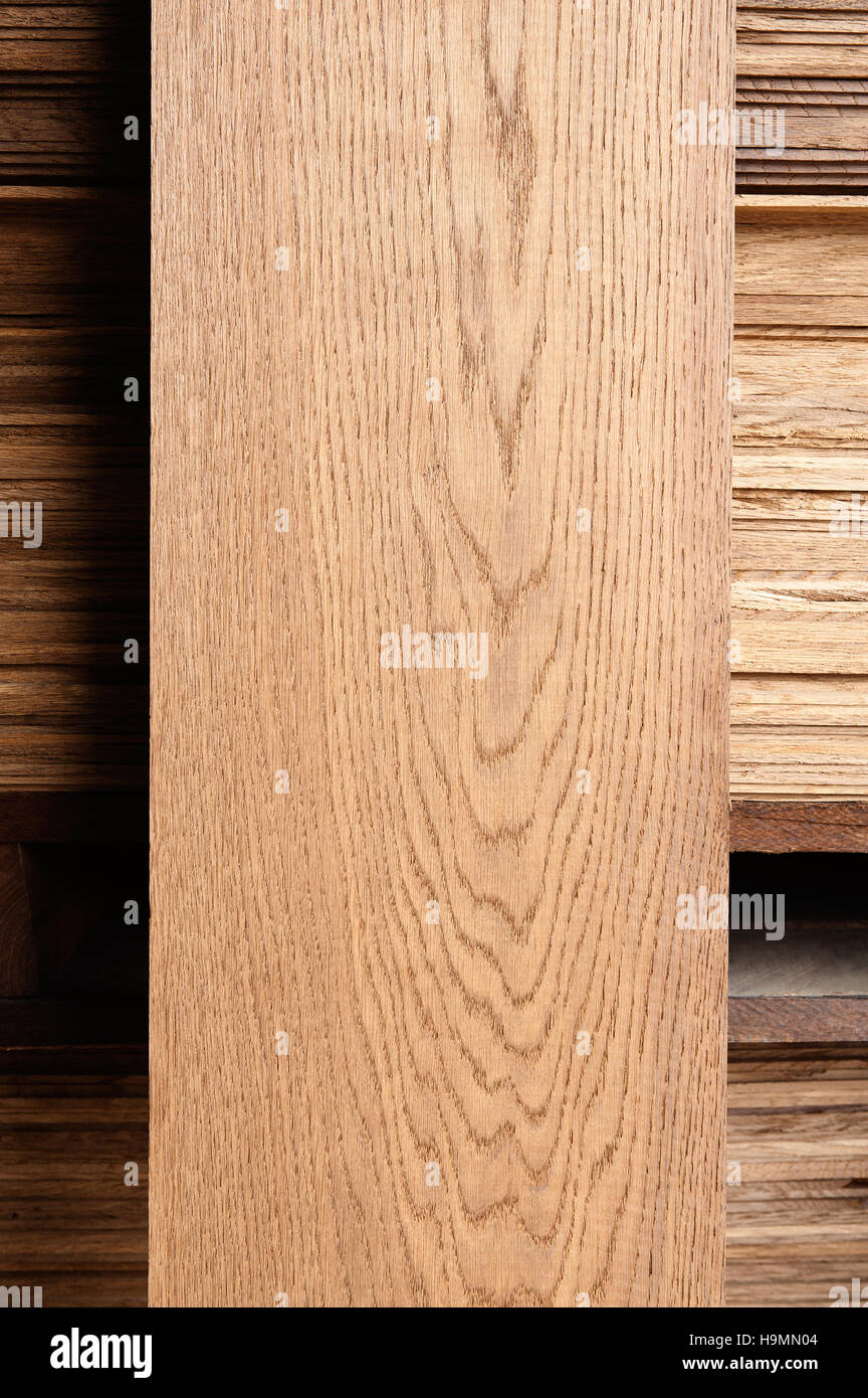 Plank of wood in timber processing plant, Templin, Uckermark district of Brandenurg, Germany. - Stock Image