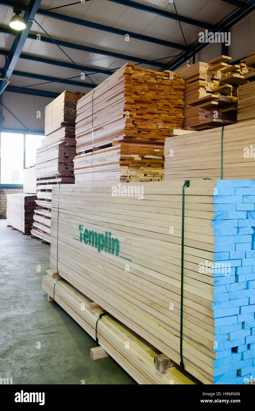 Planks of wood in timber processing plant, Templin, Uckermark district of Brandenurg, Germany. - Stock Image