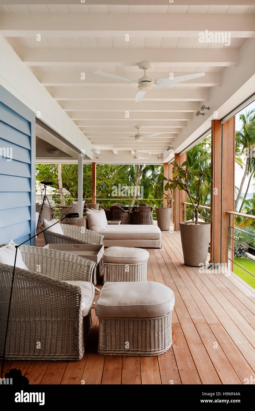 Balcony terrace seating, Barbados, West Indies, Caribbean - Stock Image