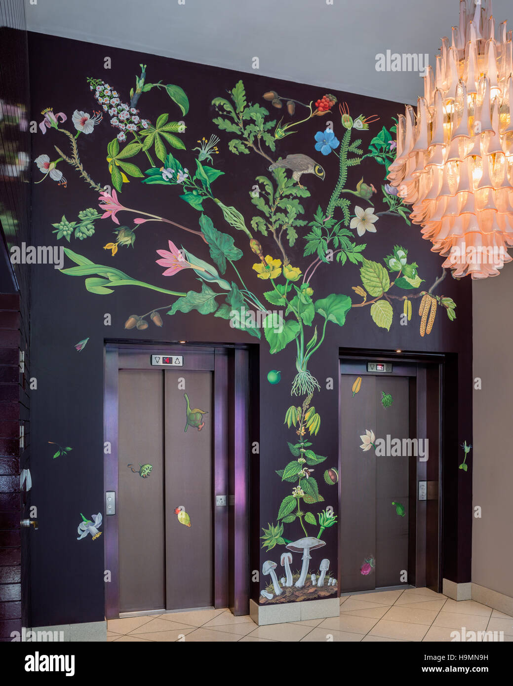 Lift access in foyer of Zetta hotel, London, UK Zetter hotel, Clerkenwell, London, UK - Stock Image
