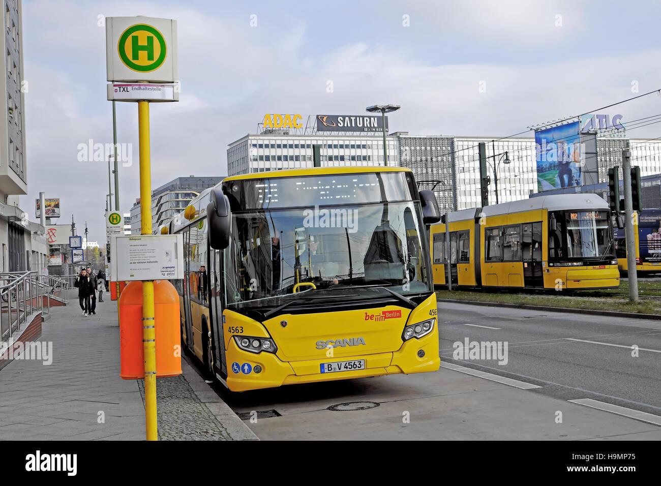 Tegel Airport Bus Txl At Alexanderplatz Bus Stop In Berlin November Stock Photo Alamy