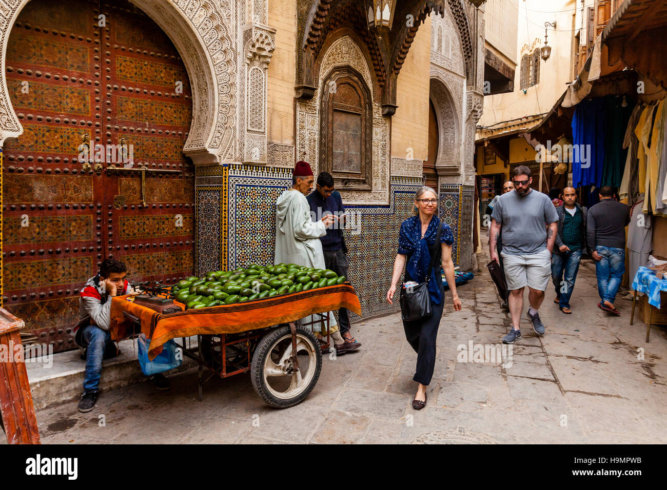 Life In The Medina, Fez el Bali, Fez, Morocco Stock Photo