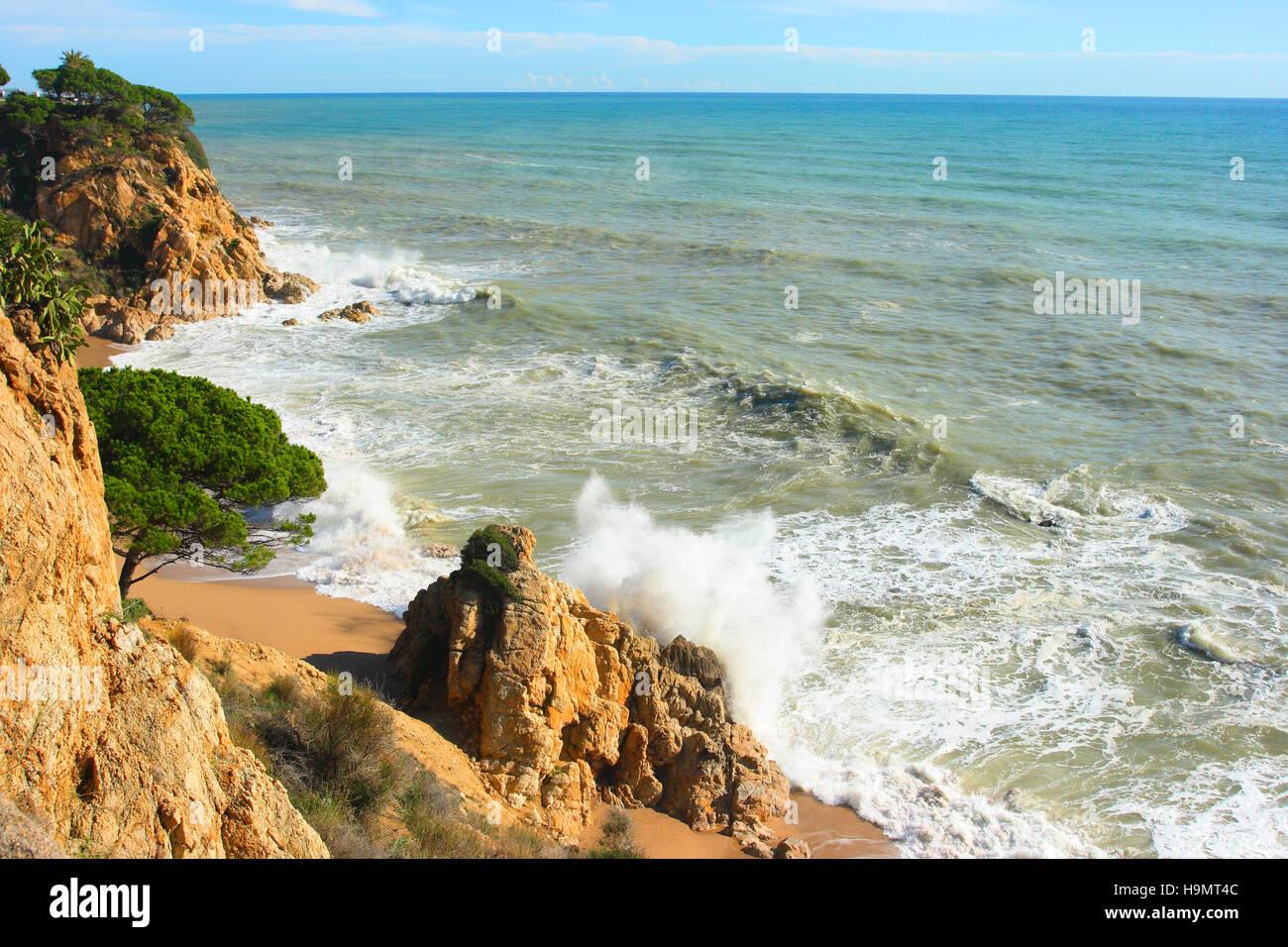 Sea storm on the Mediterranean Sea. Calella. Barcelona Province. Spain - Stock Image
