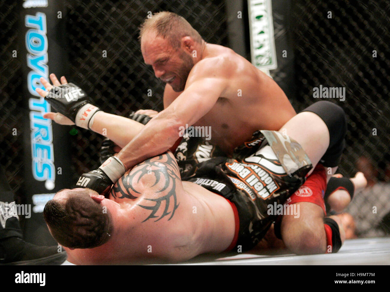 Randy Couture, top, fights Tim Sylvia during Ultimate Fighting Championship UFC 68 at the Nationwide Arena in Columbus, Stock Photo