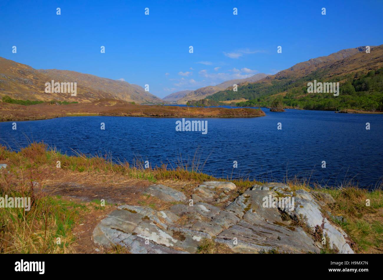 Loch Eilt Lochaber West Highlands of Scotland near Glenfinnan and Lochailort and west of Fort William - Stock Image