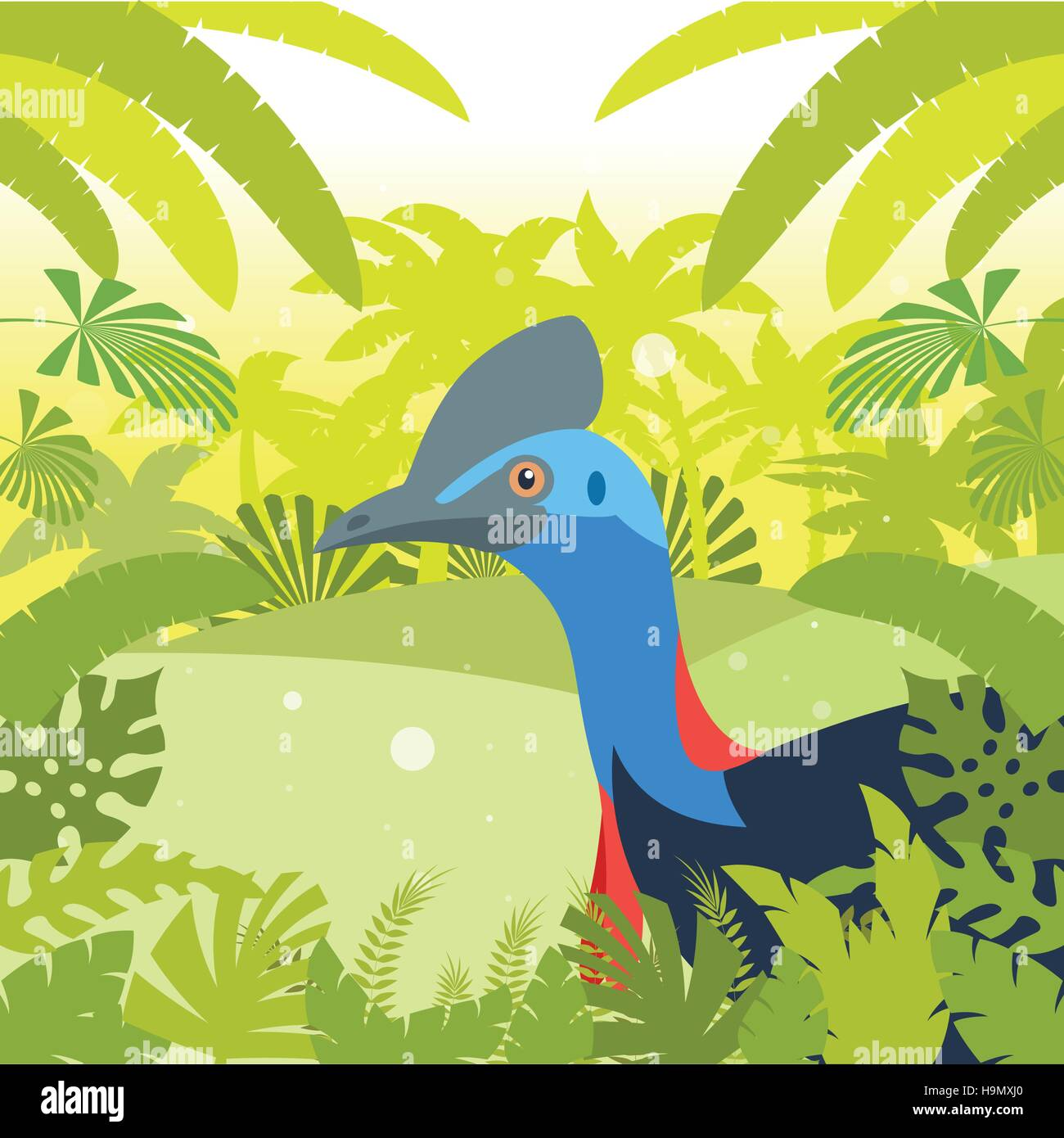 Flat Vector image of the Cassowary on the Jungle Background - Stock Vector
