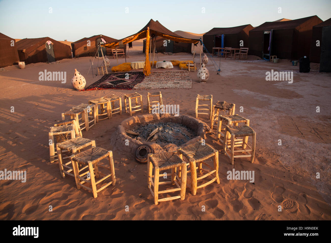 Campsite in the Sahara Desert, Morocco. - Stock Image