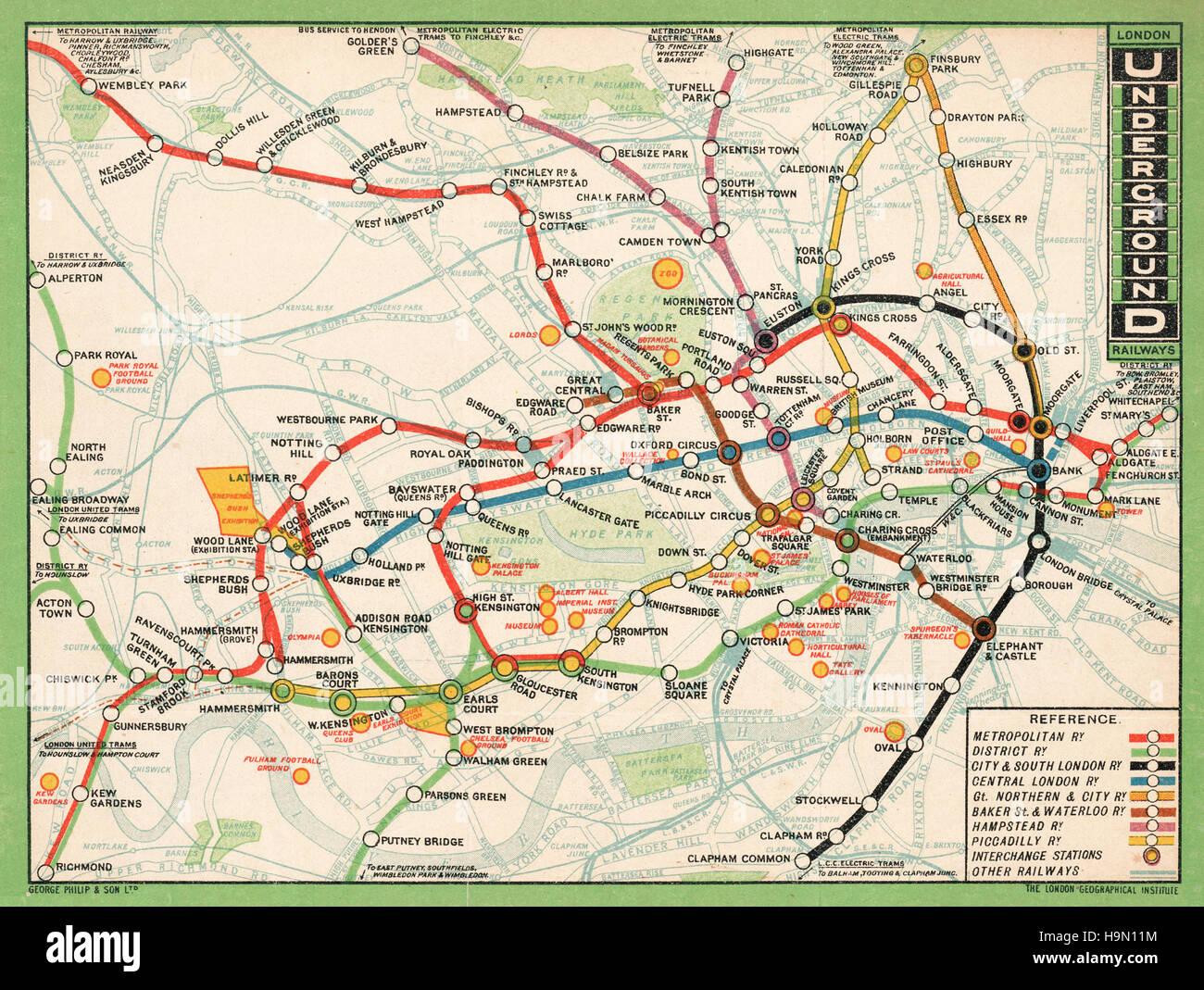 1912 london underground map stock image