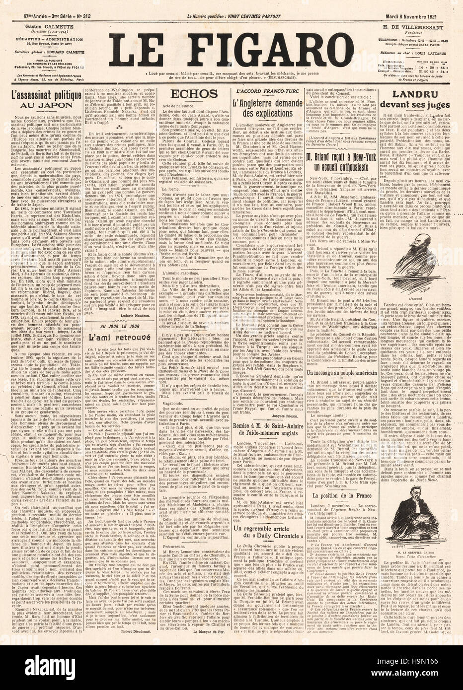 1921 Le Figaro front page Assasination of Japanese Prime Minister, Hara Takashi and trial of Henri Landru - Stock Image