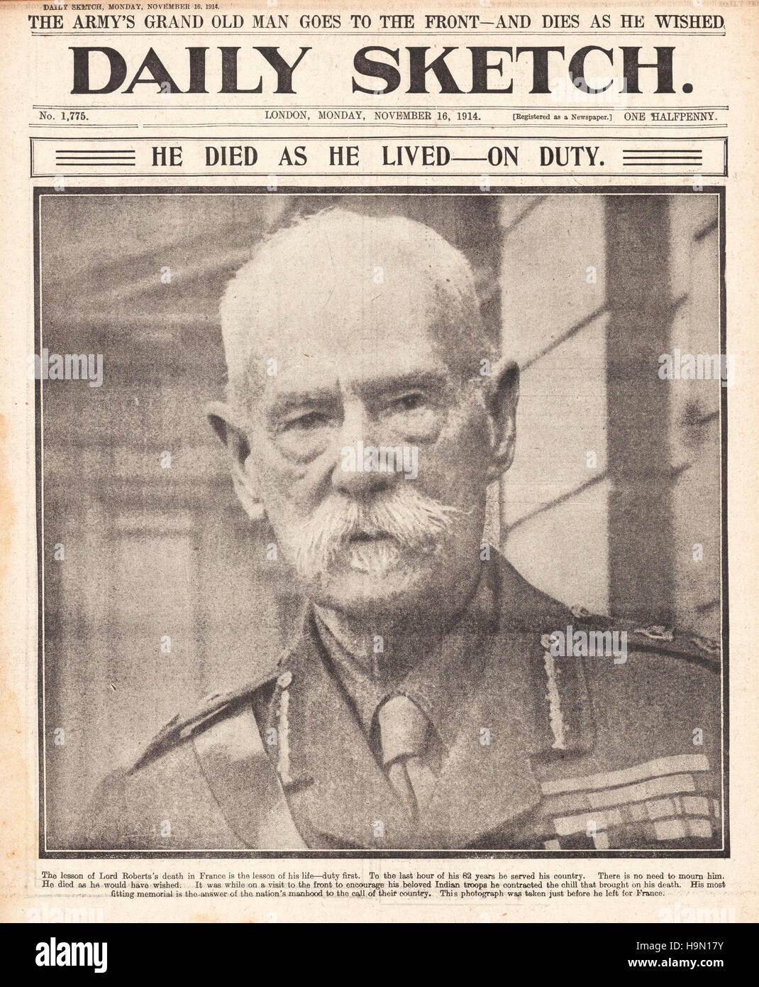 1914 Daily Sketch front page Death of Lord Roberts - Stock Image