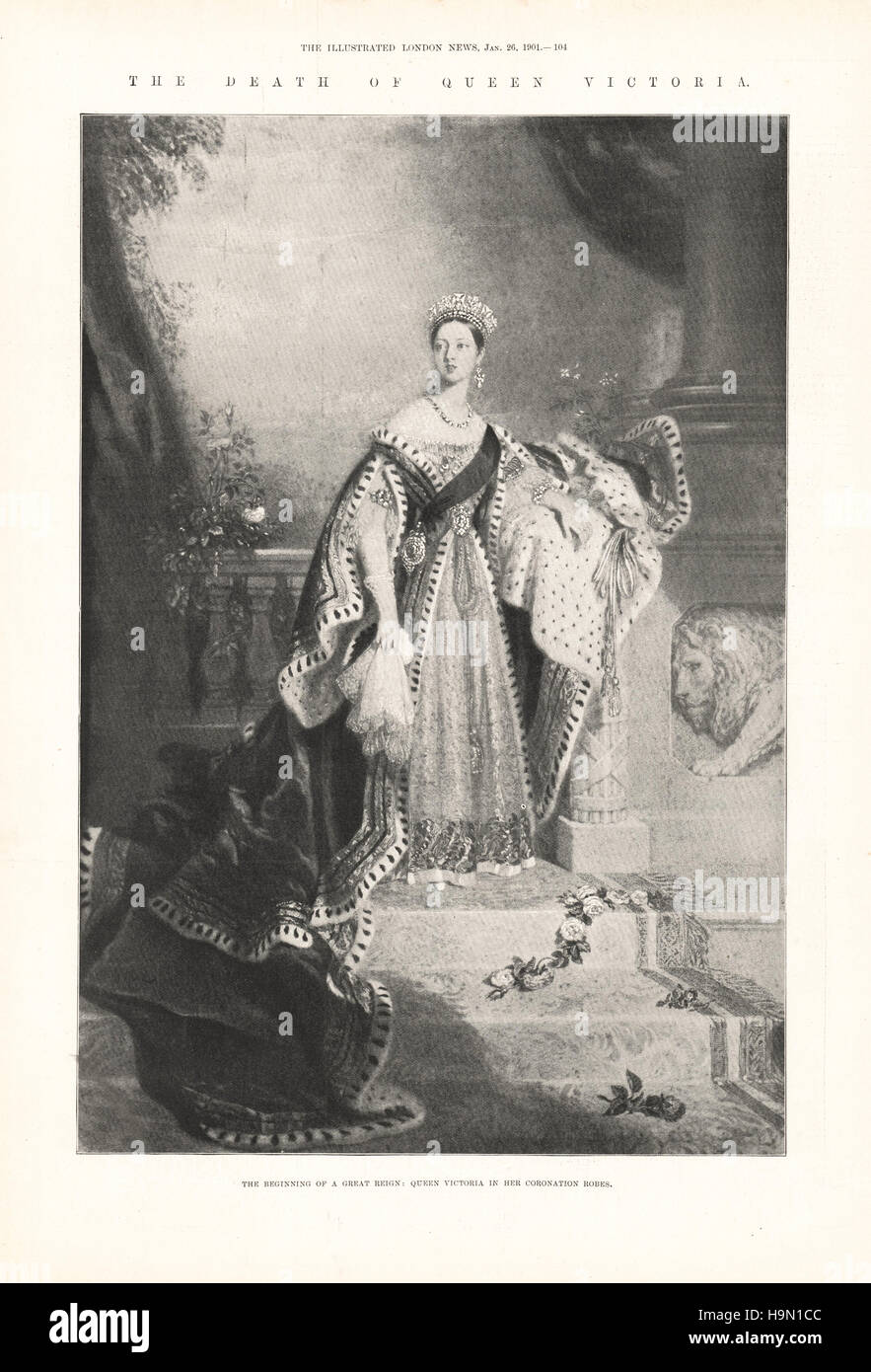 1901 Illustrated London News Queen Victoria in her coronation robes - Stock Image