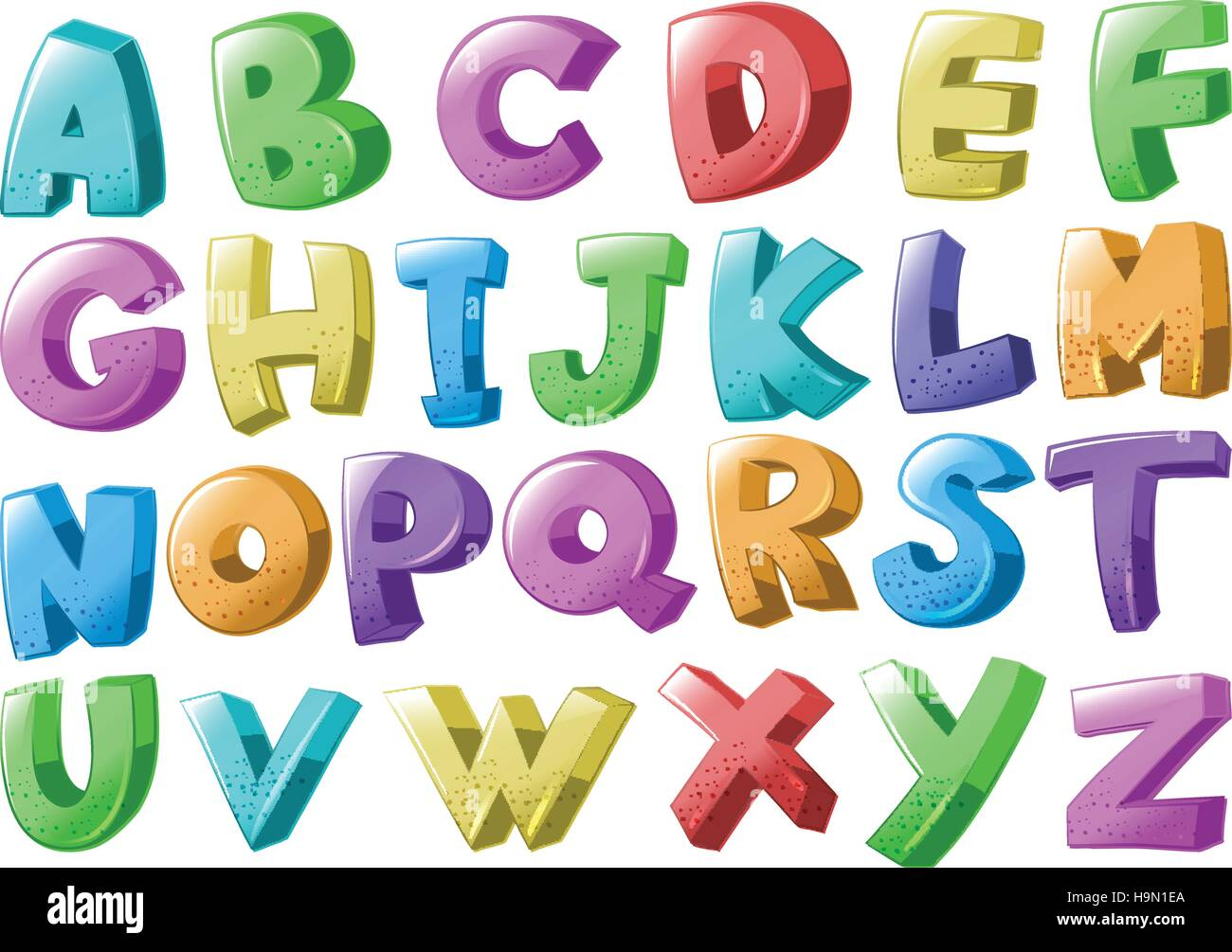 Font design with english alphabets illustration - Stock Vector