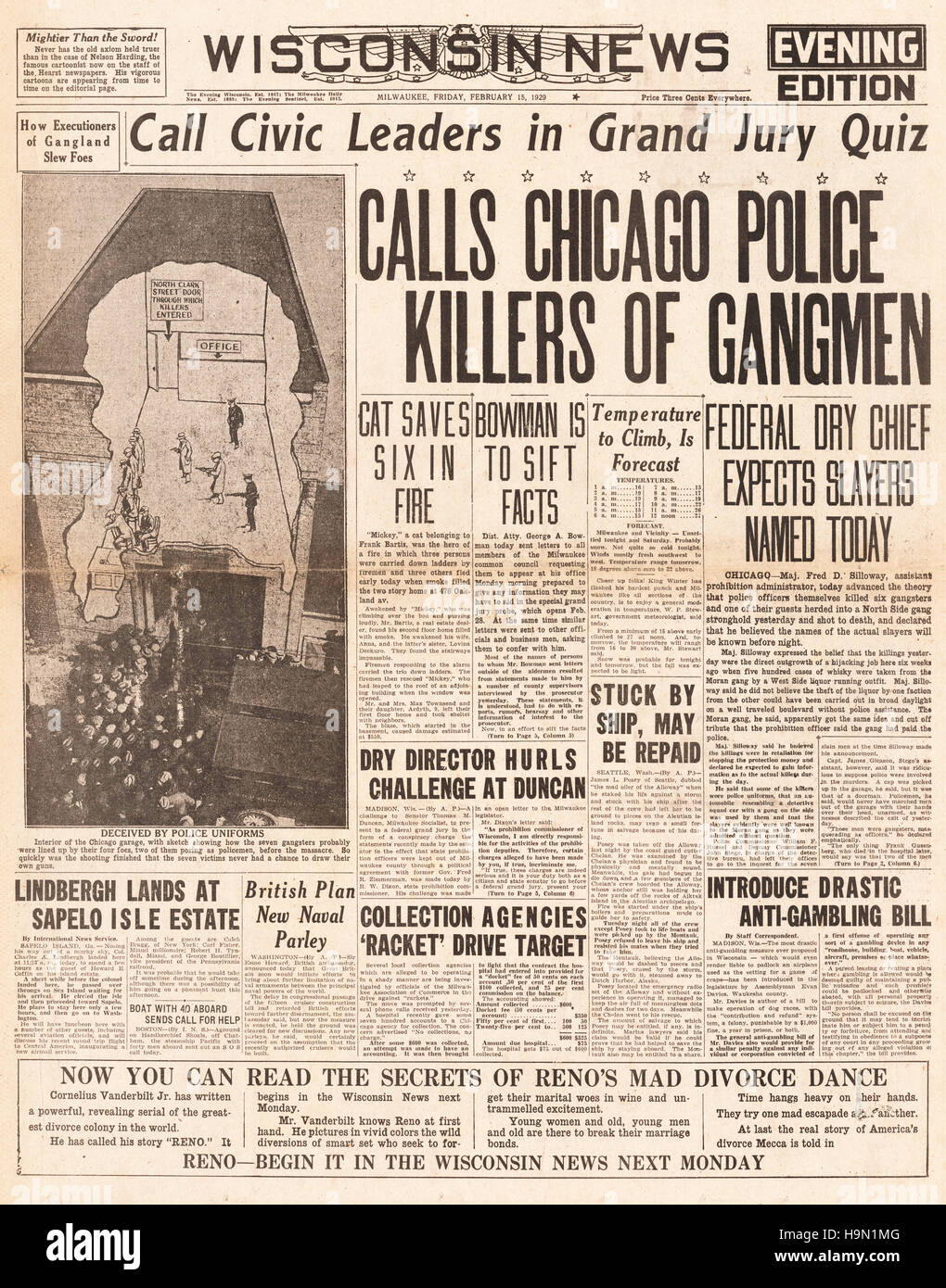 1929 Wisconsin News Front Page Valentine S Day Massacre Stock Photo