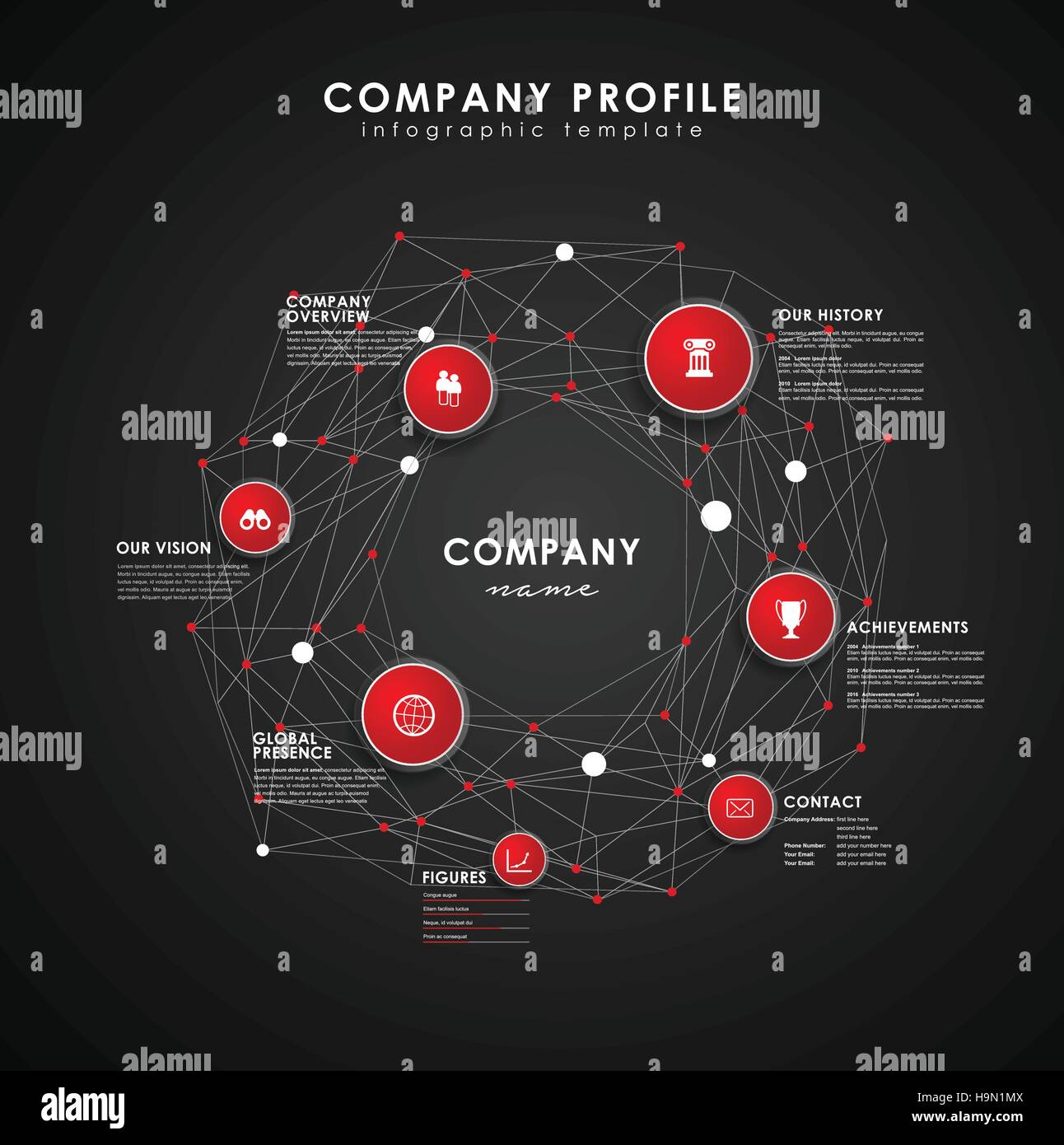 Company profile overview template with red circles and dots - dark ...
