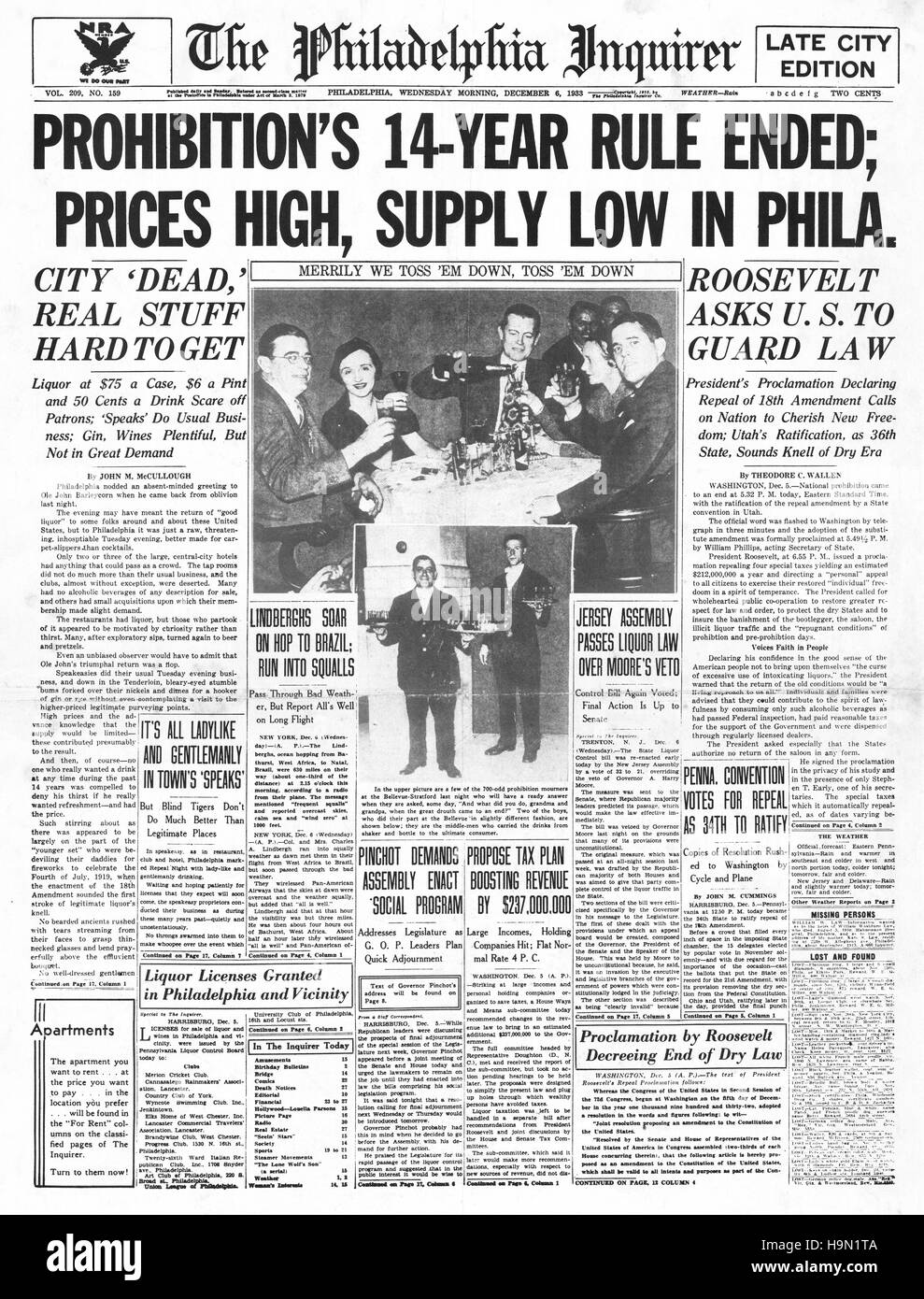 1937 The Philadelphia Inquirer (USA) front page End of prohibition - Stock Image