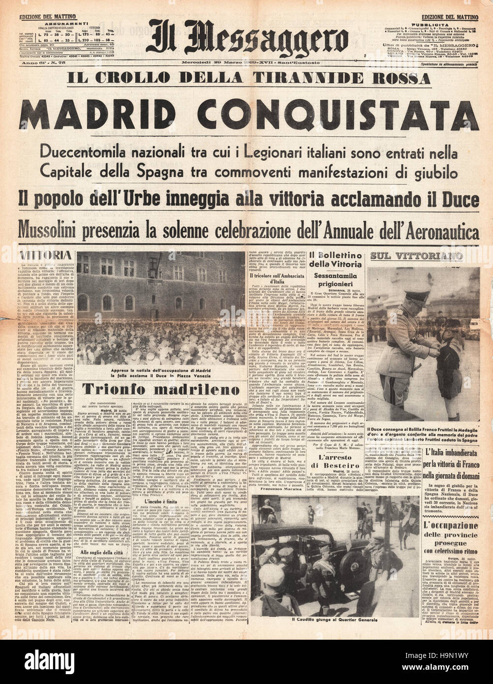 1939 Il Messaggero front page Madrid conquered in Spanish Civil War - Stock Image