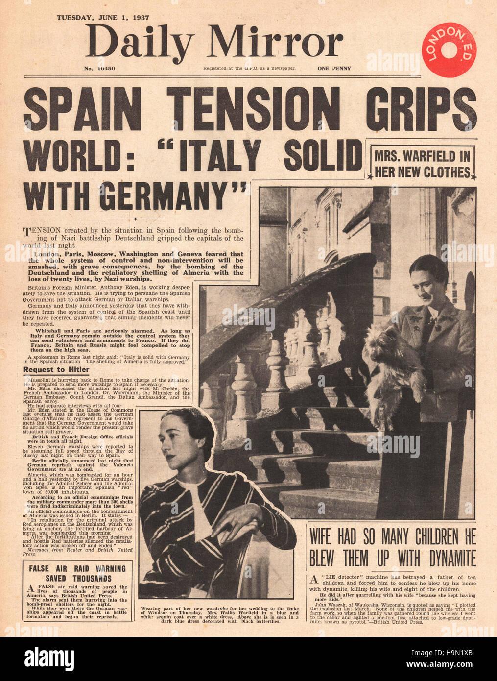 1937 Daily Express Spanish Civil War - Stock Image