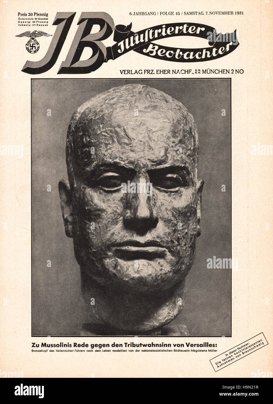 1931 Illustrierte Beobachter front page Bust of Benito Mussolini - Stock Image