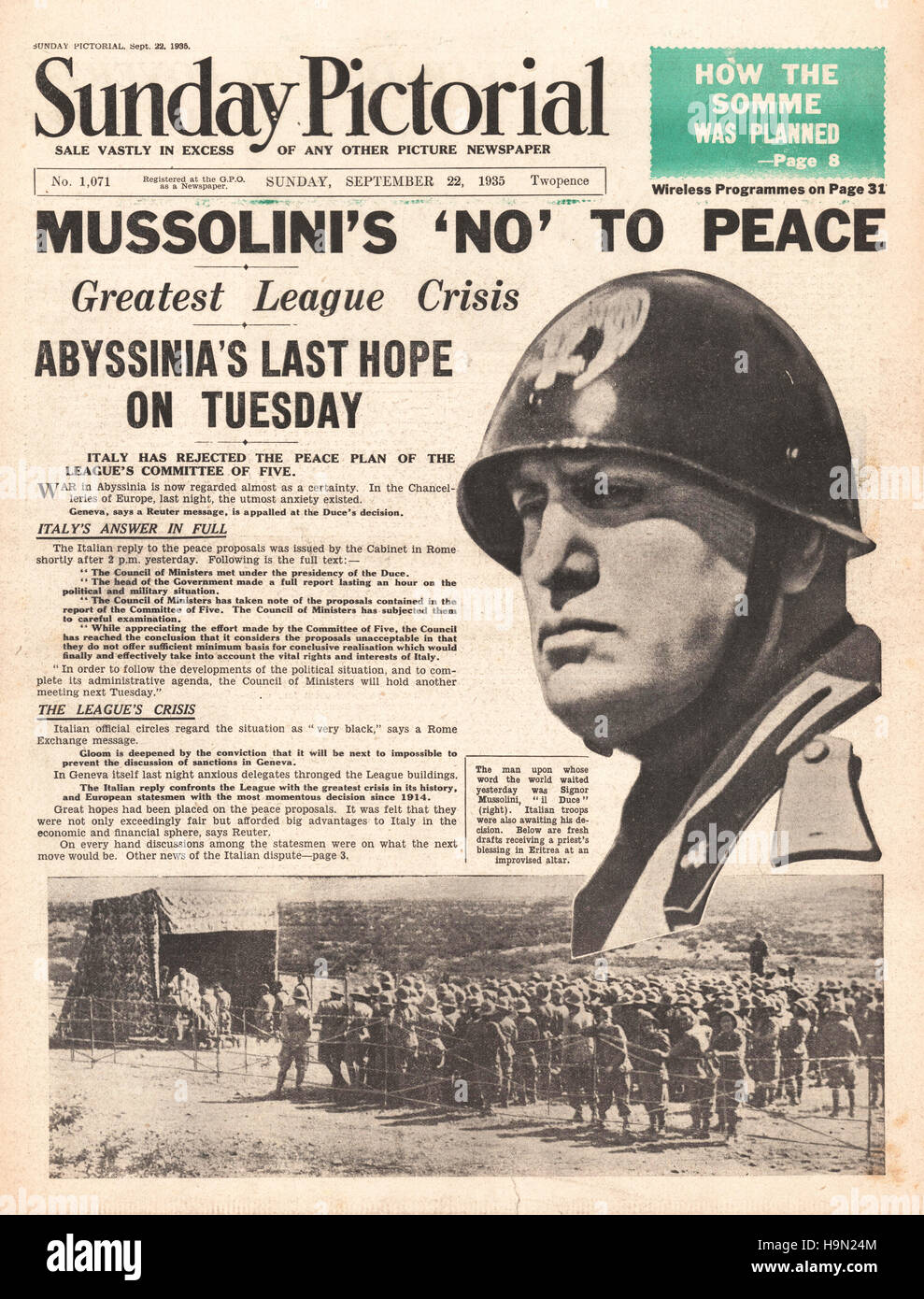 1936 Sunday Pictorial front page Italy at war with Abyssinia Stock Photo -  Alamy