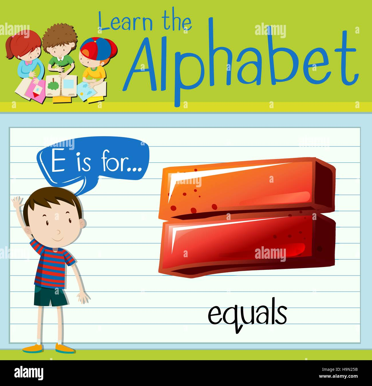 Flashcard letter E is for equals illustration Stock Vector